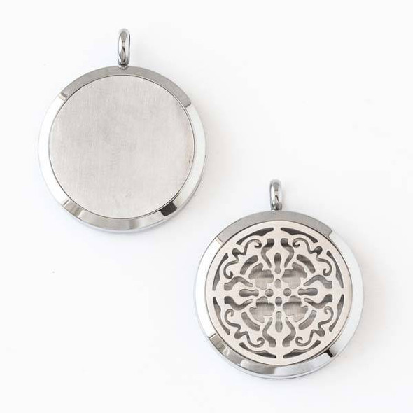 Silver Stainless Steel 30x36mm Locket/Oil Diffuser Pendant with a Sahasara Pattern - 1 per bag, #128