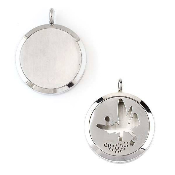 Silver Stainless Steel 30x36mm Locket/Oil Diffuser Pendant with a Fairy Sprinkling Fairy Dust - 1 per bag, #129