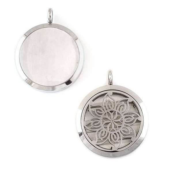 Silver Stainless Steel 30x36mm Locket/Oil Diffuser Pendant with a Mandala Flower - 1 per bag, #130