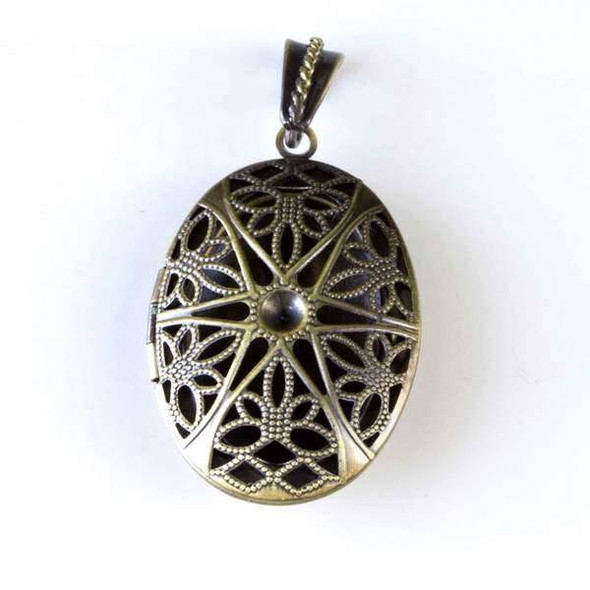 Vintage Bronze 26x48mm Oval Locket with a Star Pattern - #043