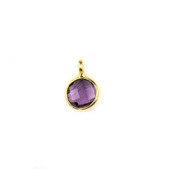 Lilac Purple Quartz 7x10mm Coin Drop with a Gold Plated Brass Bezel - 1 per bag