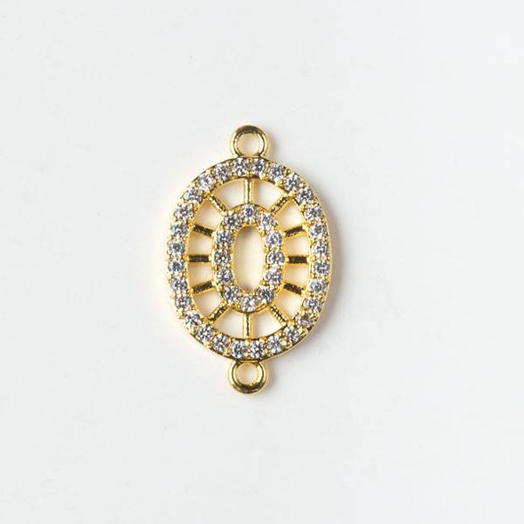 Gold Plated Brass Pave 12x19mm Oval Link with Cubic Zirconias