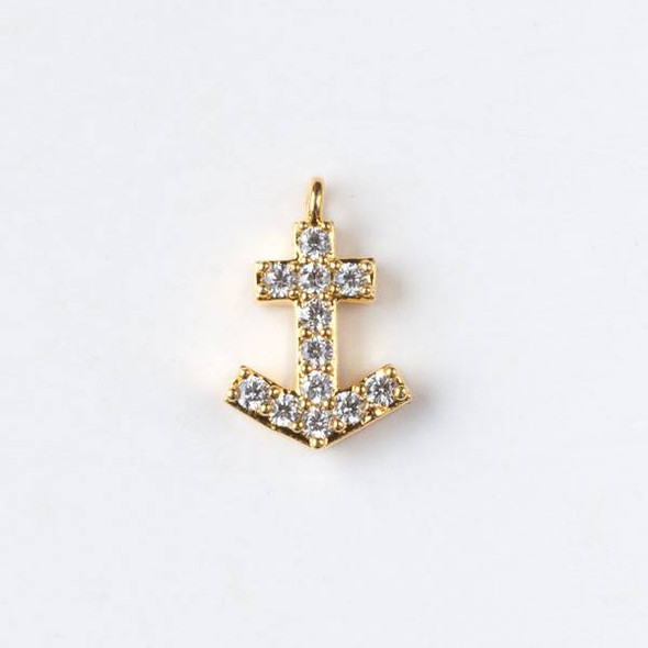 Gold Plated Brass Tiny Pave 7x11mm Anchor Drop with Cubic Zirconias