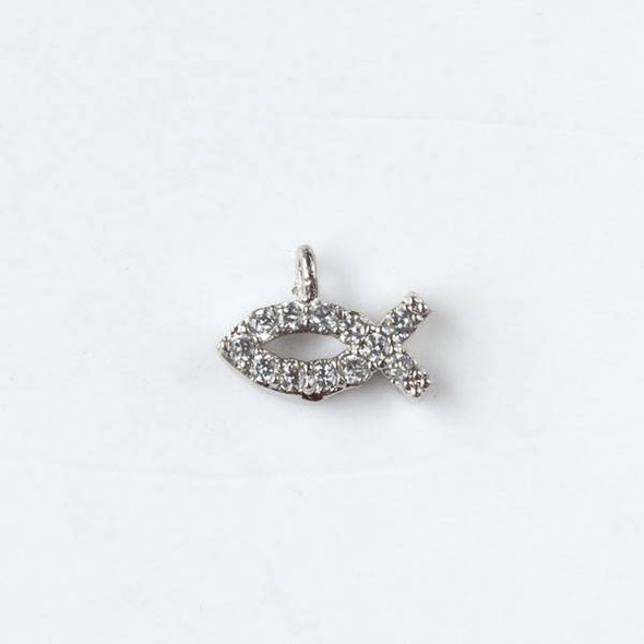 Silver Plated Brass Tiny Pave 6x8mm Fish Drop with Cubic Zirconias