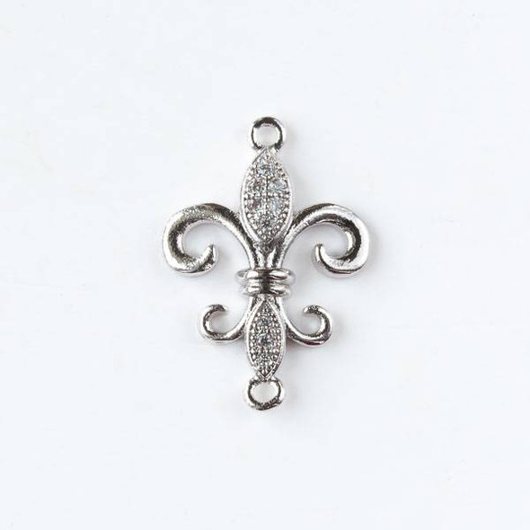 Silver Plated Brass Tiny Pave 15x21mm Fleur De Lis Link with Cubic Zirconias