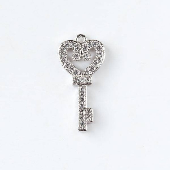 Silver Plated Brass Tiny Pave 10x22mm Key Drop with Cubic Zirconias