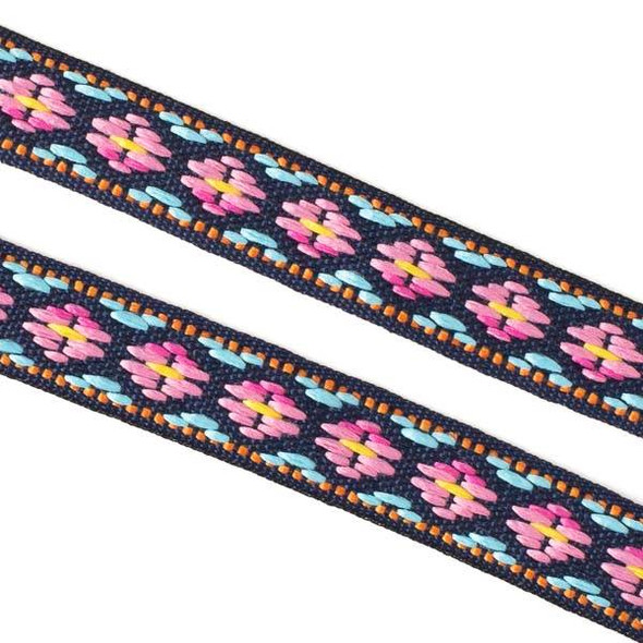 Embroidered Pink and Light Blue Tribal Ribbon - 12mm Flat, 5 yards #LY036