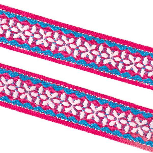 Embroidered Coral Pink and Blue Tribal Ribbon - 12mm Flat, 5 yards #LY037