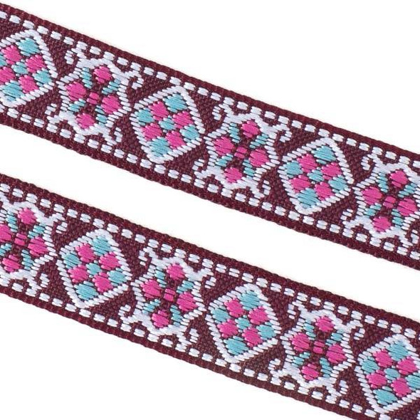 Embroidered Burgundy and Light Blue Tribal Ribbon - 18mm Flat, 5 yards #LY038