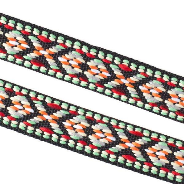 Embroidered Red and Light Green Tribal Ribbon - 15mm Flat, 5 yards #LY039