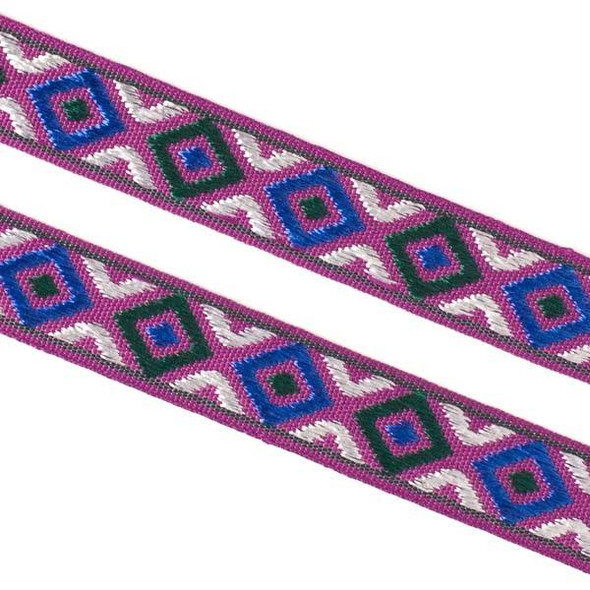 Embroidered Purple, Green, and Blue Tribal Ribbon - 12mm Flat, 5 yards #LY040