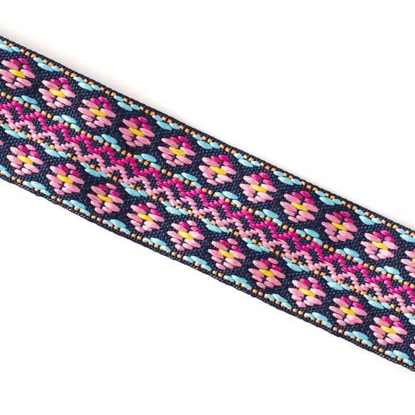 Embroidered Pink and Light Blue Tribal Ribbon - 25mm Flat, 5 yards #LY042