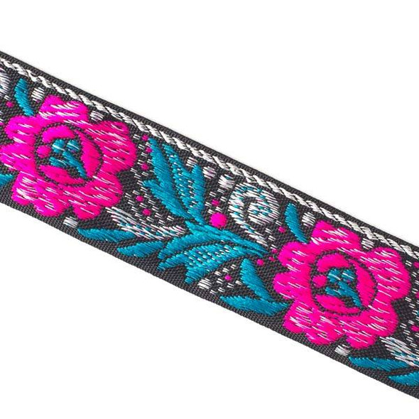 Embroidered Hot Pink and Bright Blue Flower Ribbon - 28mm Flat, 5 yards #LY043