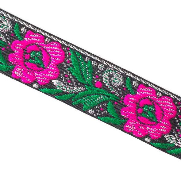 Embroidered Hot Pink and Green Flower Ribbon - 28mm Flat, 5 yards #LY044