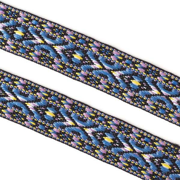 Embroidered Lavender and Light Blue Tribal Ribbon - 23mm Flat, 5 yards #LY045