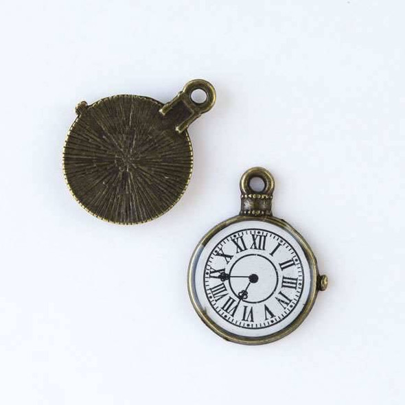 Brass 19x25mm Pocket Watch Clock Charms - 4 per bag