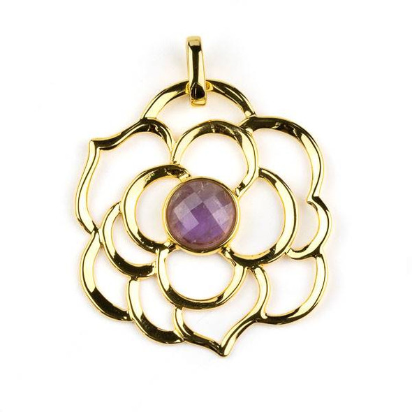 Gold Plated Brass 43mm Flower Pendant with 10mm Faceted Amethyst Center -  1 per bag