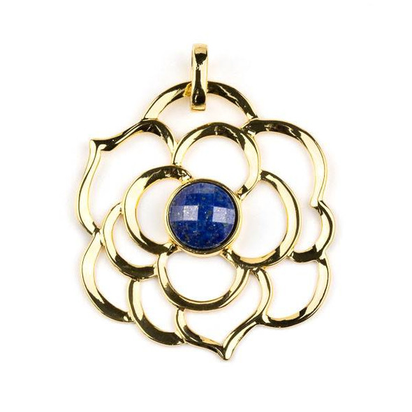 Gold Plated Brass 43mm Flower Pendant with 10mm Faceted Lapis Center -  1 per bag