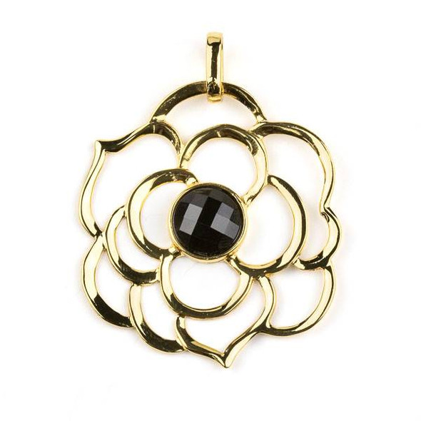 Gold Plated Brass 43mm Flower Pendant with 10mm Faceted Onyx Center -  1 per bag
