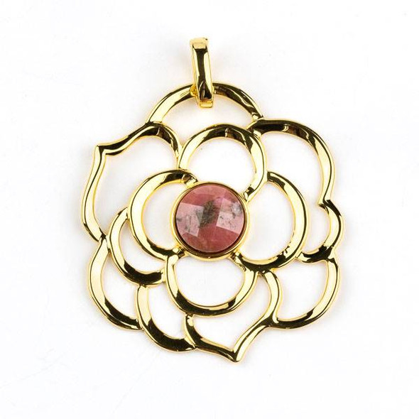 Gold Plated Brass 43mm Flower Pendant with 10mm Faceted Rhodonite Center -  1 per bag