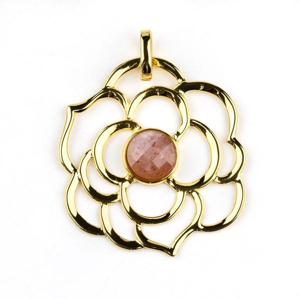 Gold Plated Brass 43mm Flower Pendant with 10mm Faceted Strawberry Quartz Center -  1 per bag