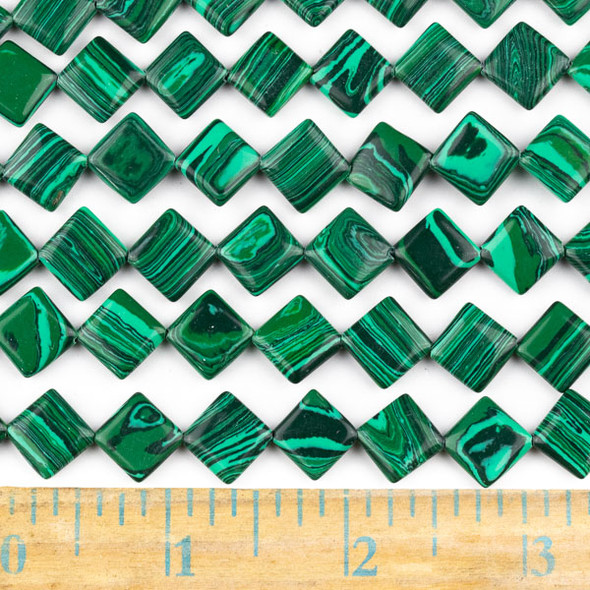 Synthetic Malachite 10mm Diagonal Drilled Square Beads - approx. 8 inch strand, Set A