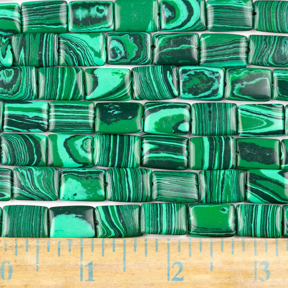 Synthetic Malachite 10x14mm Rectangle Beads - approx. 8 inch strand, Set A
