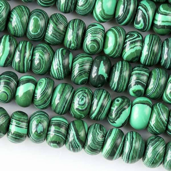 Synthetic Malachite 5x8mm Rondelle Beads - approx. 8 inch strand, Set A