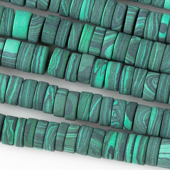 Matte Synthetic Malachite 3x8mm Heishi - 8 inch strand