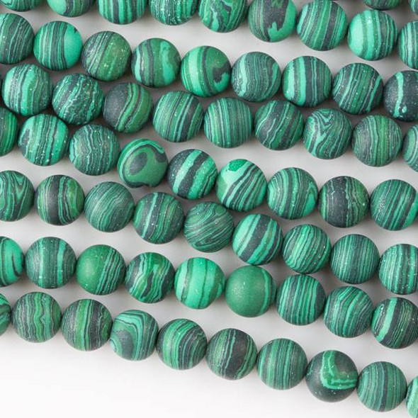 Matte Synthetic Malachite 6mm Rounds - 8 inch strand