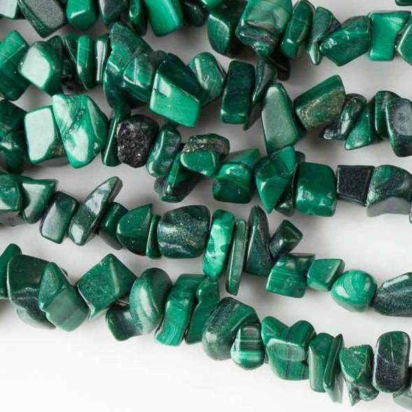 "Malachite 5-8mm Chip Beads - 34"" circular strand"