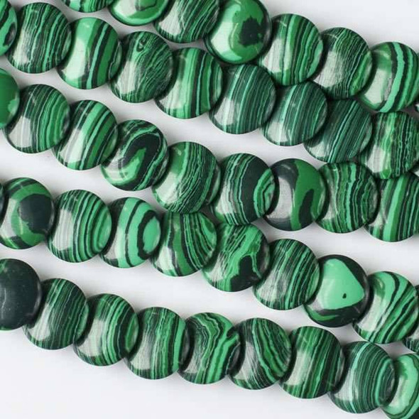 Synthetic Malachite 12mm Overlapping Coin/Lentil Beads - 16 inch strand