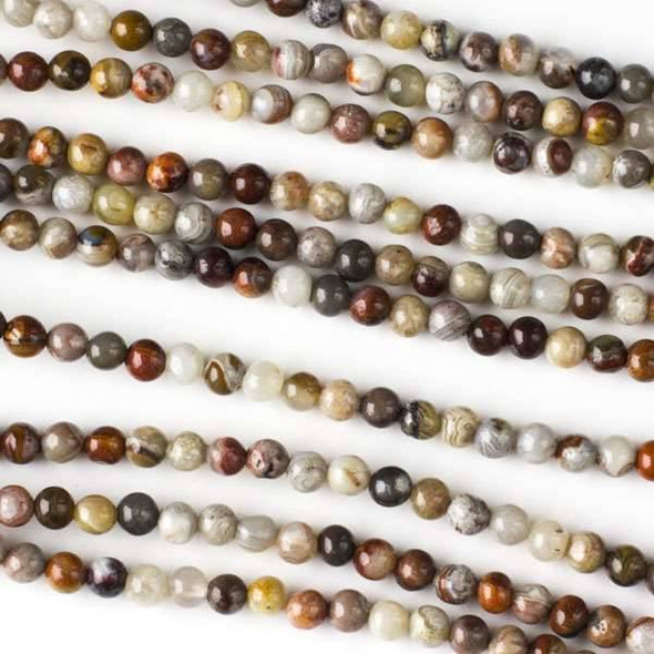 Mexican Laguna Lace Agate 4mm Rounds - 16 inch strand