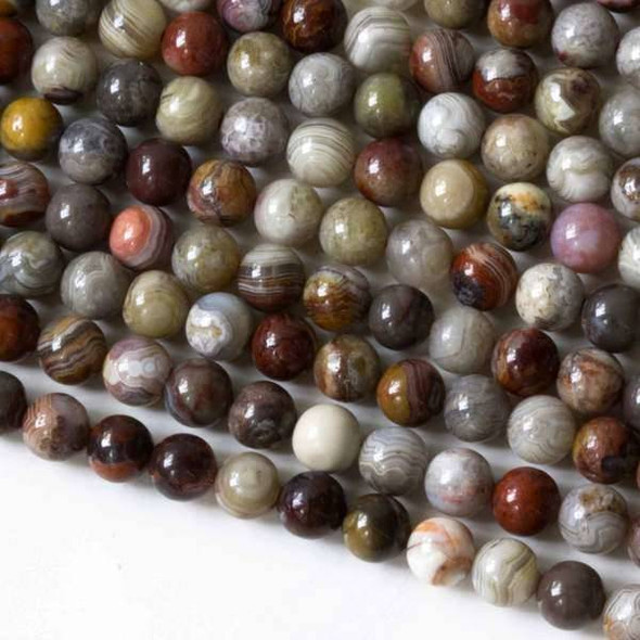 Mexican Laguna Lace Agate 6mm Round - 15 inch strand