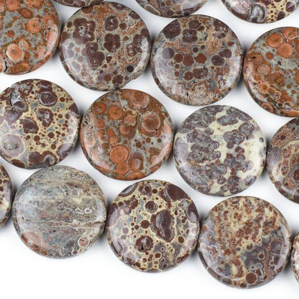 Mexican Orbicular Jasper 30mm Coin Beads - 16 inch strand