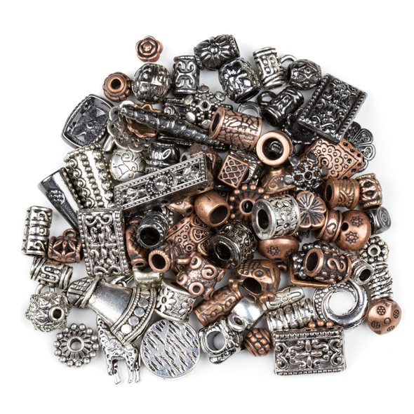 Pewter Silver, Vintage Copper, and Gun Metal 100 Piece Bead Mix