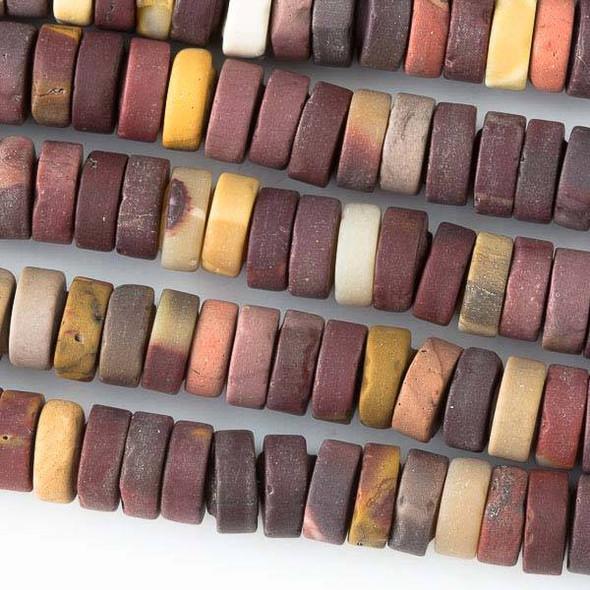 Matte Mookaite 3x8mm Heishi Beads - 16 inch strand