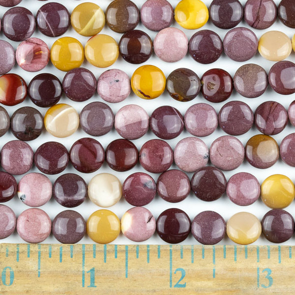 Mookaite 10mm Coin Beads Beads - approx. 8 inch strand, Set A
