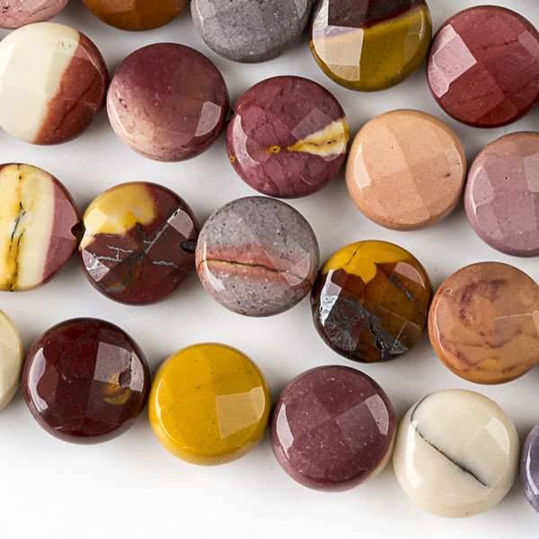 Mookaite 10mm Faceted Coin  Beads - approx. 8 inch strand, Set B