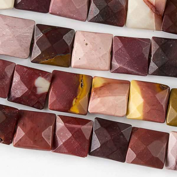 Mookaite 10mm Faceted Square Beads - approx. 8 inch strand, Set B
