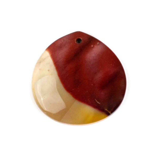 Mookaite 40mm Top Front to Back Drilled Almond Pendant with a Flat Back - 1 per bag