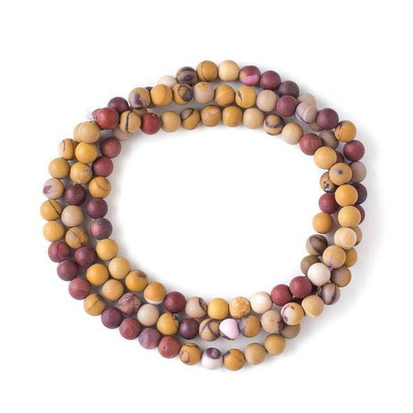 Matte Mookaite 6mm Mala Round Beads - 29 inch strand