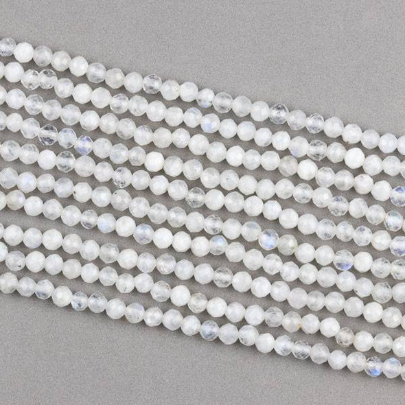 Rainbow Moonstone 4mm Faceted Round Beads - 15.5 inch strand