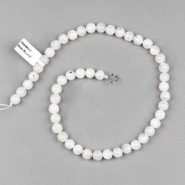 White Moonstone 8mm Round Beads - 16 inch strands