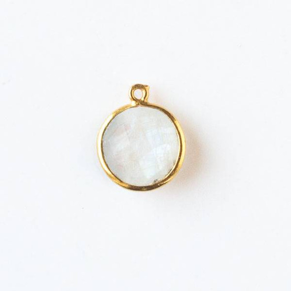 Moonstone 13x16mm Faceted Coin Drop with a Gold Plated Brass Bezel