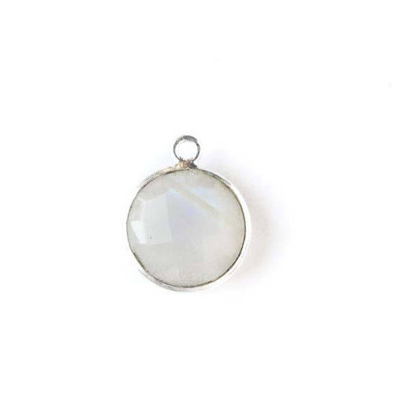Moonstone 13x16mm Coin Drop with Silver Plated Brass Bezel