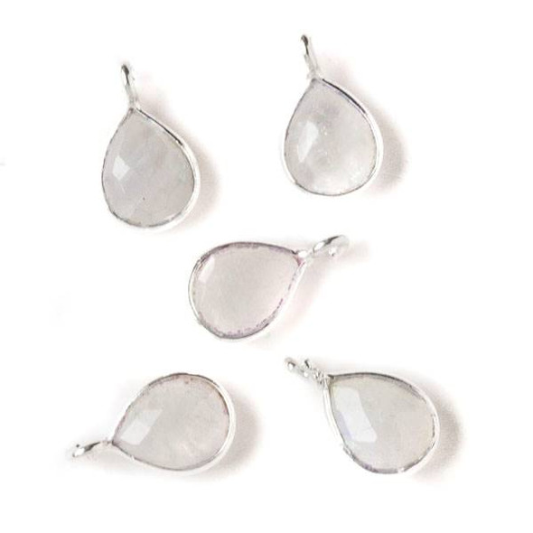Moonstone approximately 8x14mm Teardrop Drop with Silver Plated Brass Bezel and Loop, June Birthstone - 1 per bag