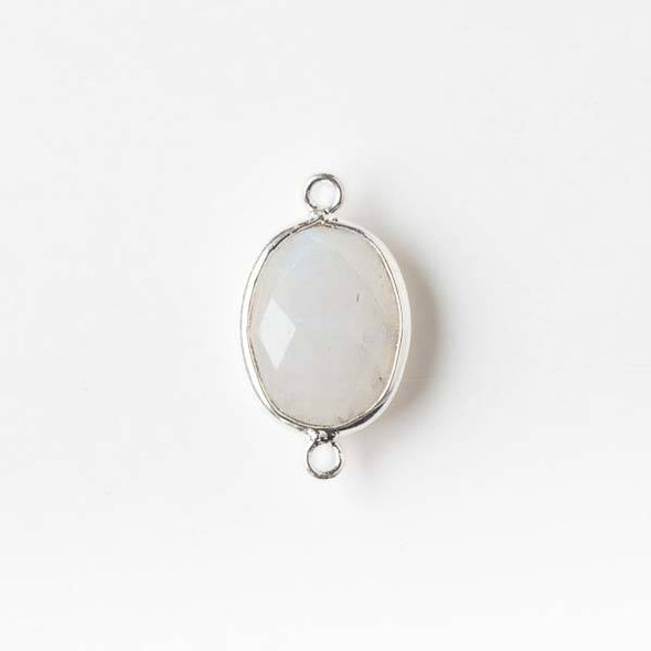 Moonstone 12x20mm Oval Link with a Silver Plated Brass Bezel