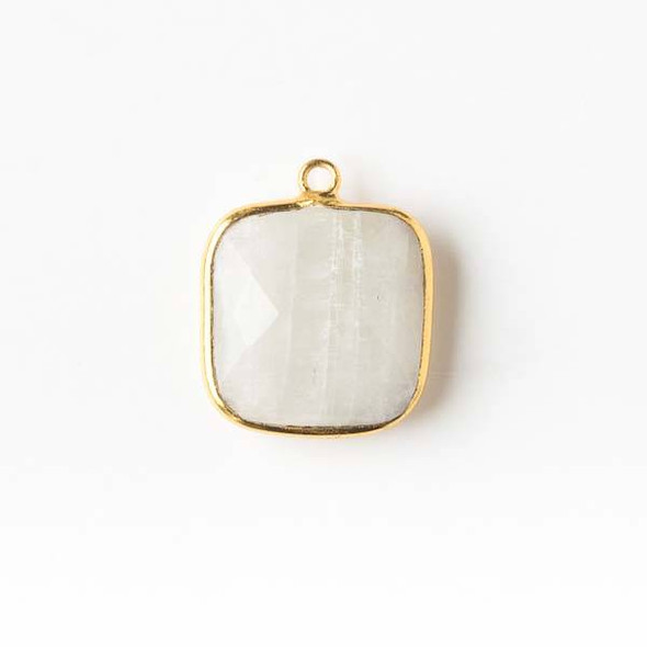 Moonstone 15x18mm Square Drop with a Gold Plated Brass Bezel