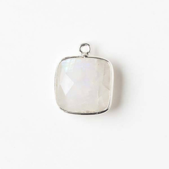 Moonstone 15x18mm Square Drop with a Silver Plated Brass Bezel